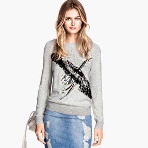 NWT H&M Crane Bird Sequin Ribbed Sweater